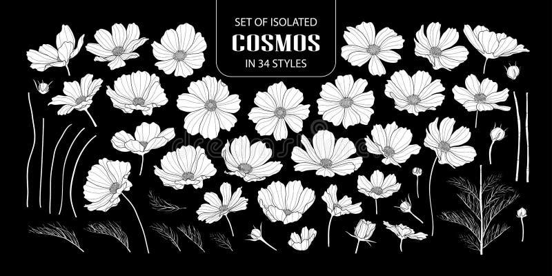 Reeks van geïsoleerde witte silhouetkosmos in 34 stijlen stock illustratie