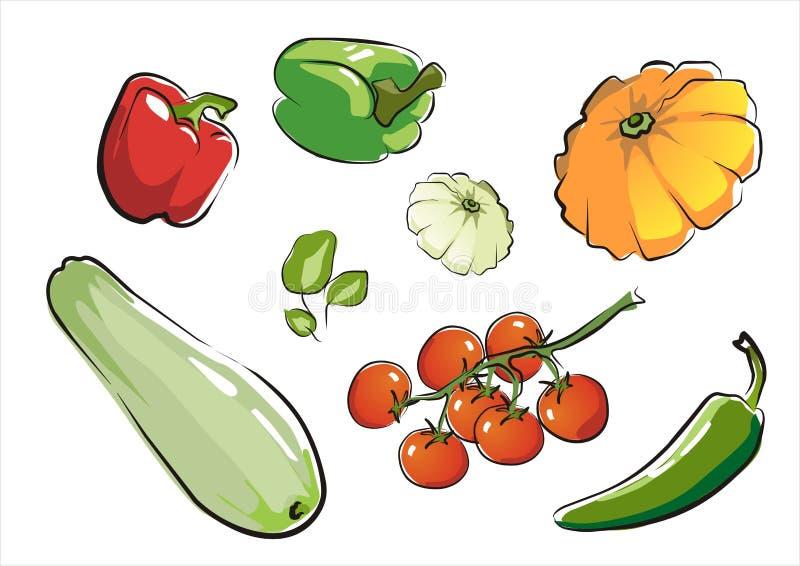 Reeks van geïsoleerdr groentendeel 1. royalty-vrije illustratie