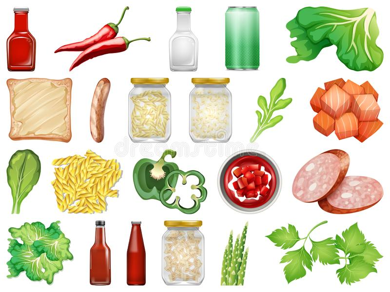 Reeks van ge?soleerd voedsel vector illustratie