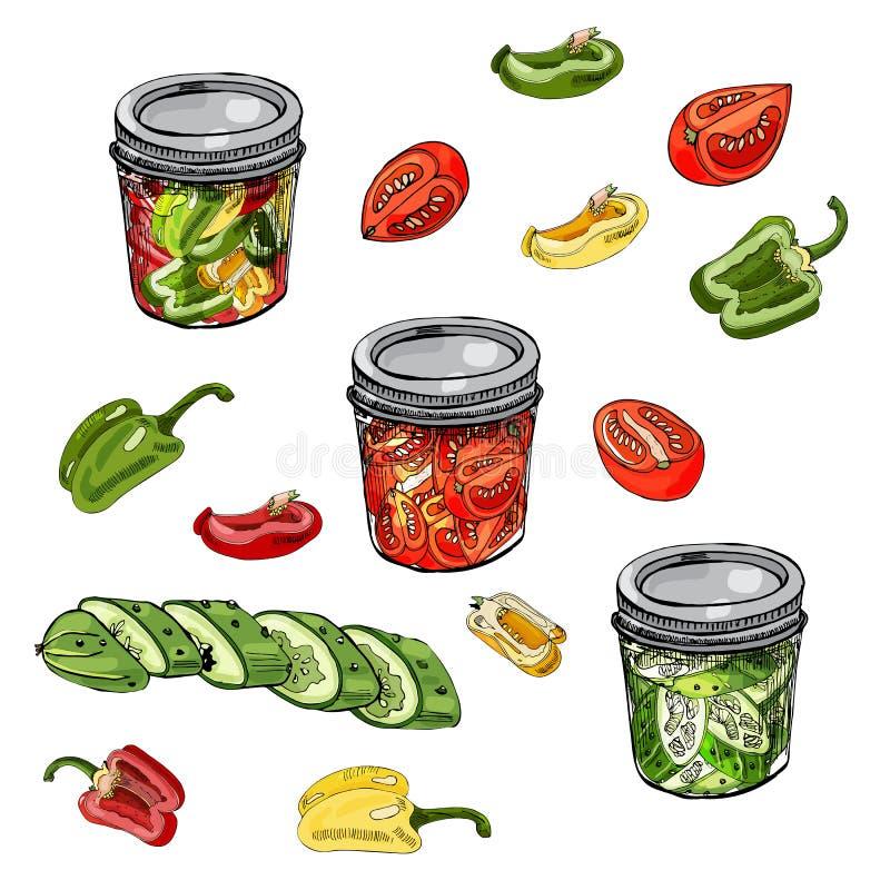 Reeks van geassorteerd thuiswerk van groenten Rode, groene en gele die tomaten, komkommer en peper op witte achtergrond worden ge stock illustratie