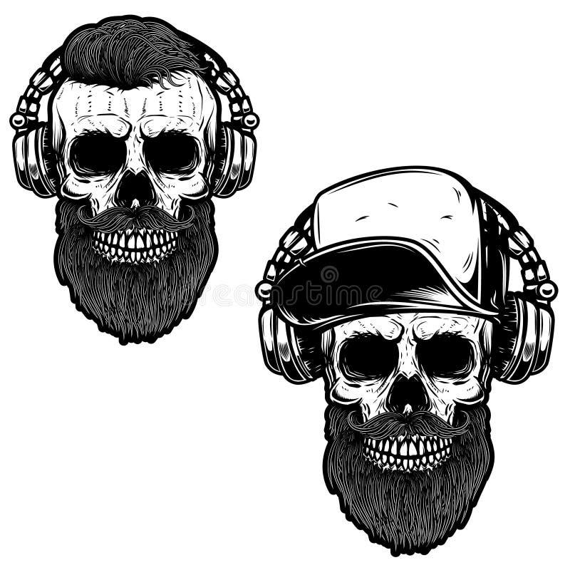 Reeks van gebaarde schedel in hoofdtelefoons Ontwerpelement voor affiche, kaart, embleem, tekenbanner vector illustratie