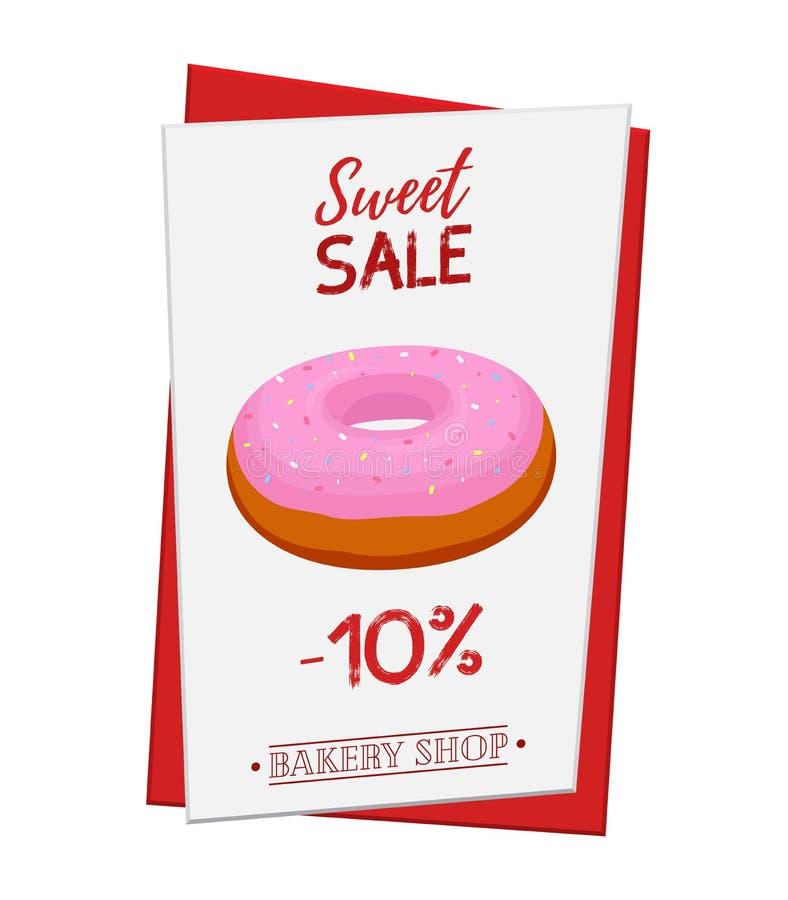 Reeks van gebakjeaffiche, banner voor verkoop van doughnut Promo, advertisi vector illustratie