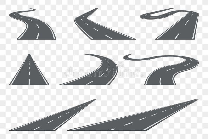 Reeks van gebogen asfaltweg in perspectief Wegpictogrammen royalty-vrije illustratie