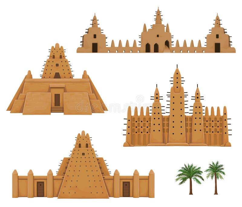 Reeks van gebouwen Afrikaanse architectuur Huis, moskee, oude woning stock illustratie