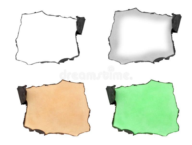 Reeks van gebrand document op rand stock illustratie
