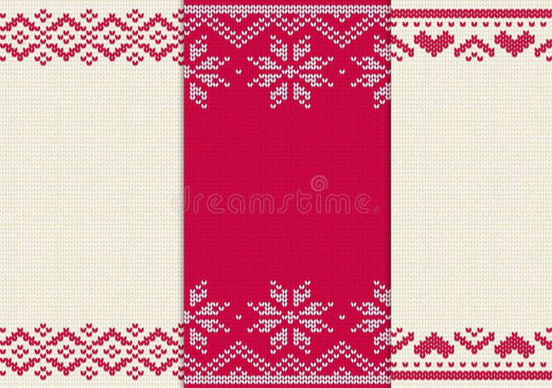 Reeks van gebreid naadloos patroon voor sweater De winter achtergrondvector royalty-vrije illustratie