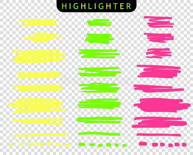 Reeks van geel, groen, roze, de tellers van de slagenlijn De vectorlijnen van de hoogtepuntborstel Onderstreepte de schets van de royalty-vrije illustratie
