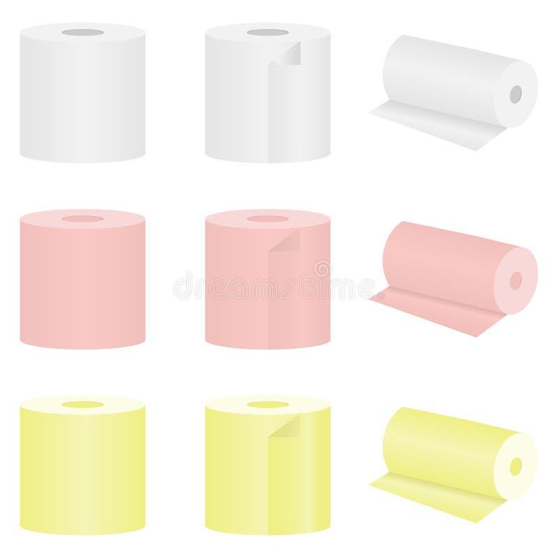 Reeks van gekleurd toiletpapier vector illustratie