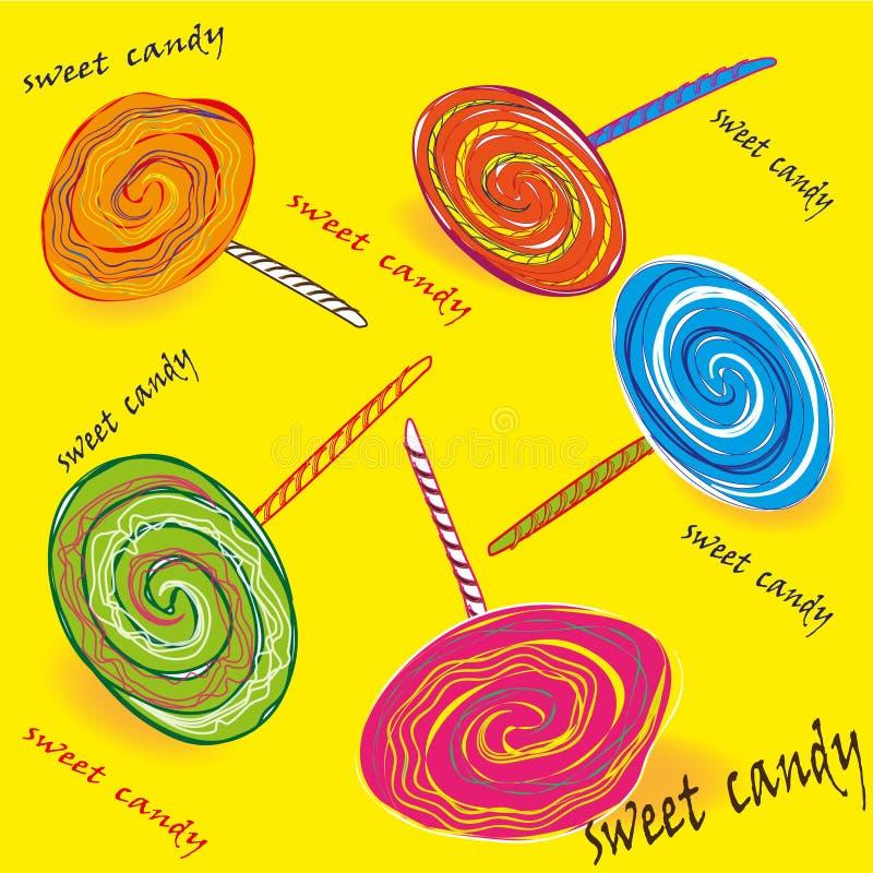 Reeks van gekleurd zoet suikergoed op een stok royalty-vrije illustratie