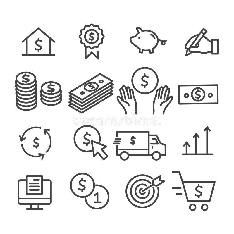 Reeks van geldteken Marketing, stapel van geld, het overzichtspictogram van het bedrijfsanalyseconcept dat op witte achtergrond w royalty-vrije illustratie