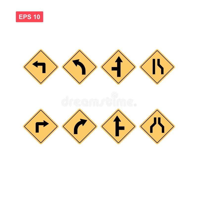 Reeks van gele geïsoleerde roadsignvector royalty-vrije illustratie
