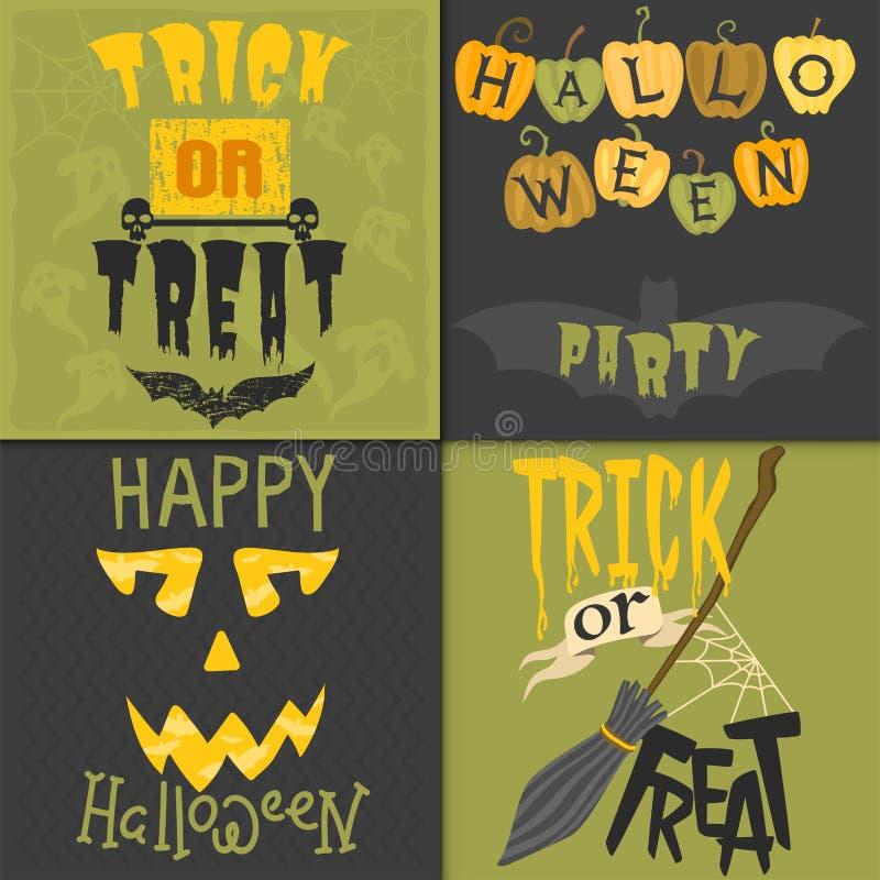 Reeks van gelukkig Halloween-van de de illustratiepartij van de groetkaart vector de uitnodigingsontwerp met griezelig embleem royalty-vrije illustratie