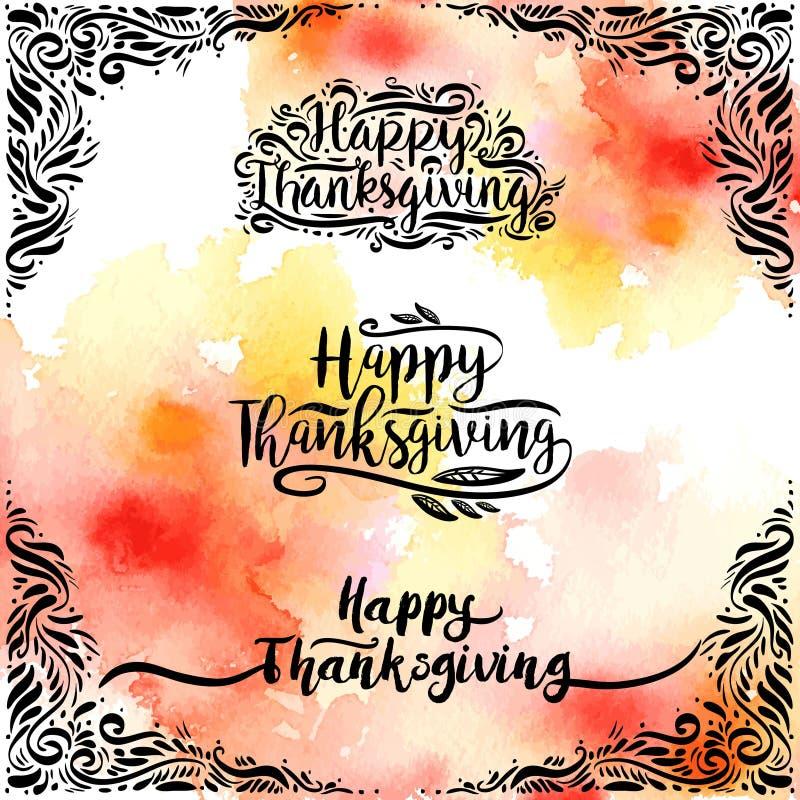 Reeks van Gelukkig Thanksgiving day van de ontwerpstijl logotype, kenteken en pictogram op waterverf vector illustratie