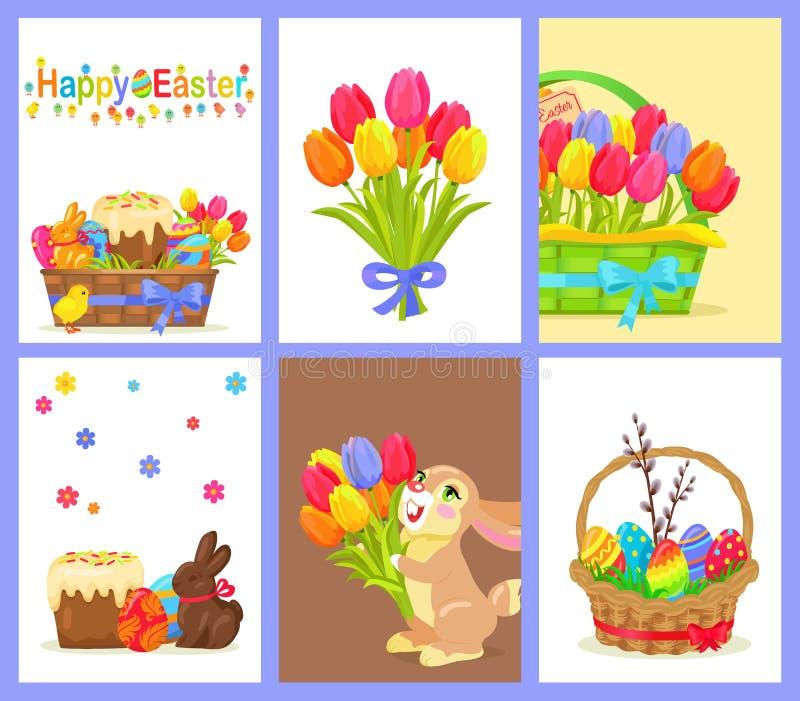 Reeks van Gelukkige Pasen met Bloemen en Zoet Dessert stock illustratie