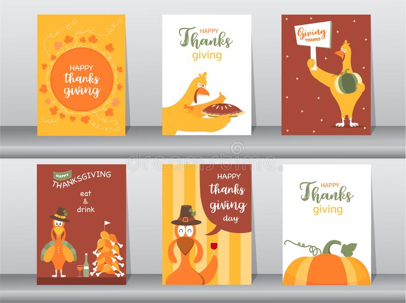 Reeks van Gelukkige thanksgiving daykaart, ontwerp, affiche, malplaatje, groet, dierlijke, leuke, Vectorillustraties royalty-vrije illustratie