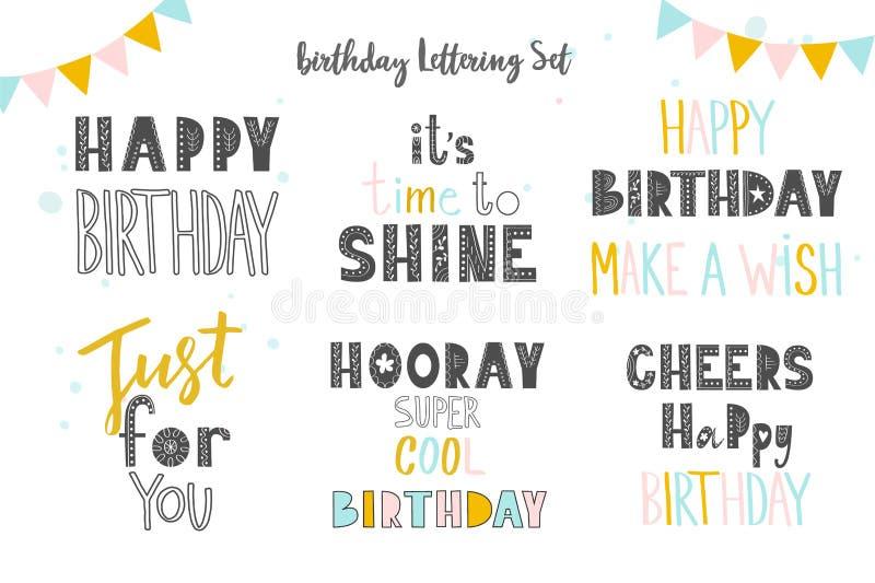 Reeks van Gelukkige Verjaardag aan u inschrijvingen Hand het getrokken van letters voorzien op witte achtergrond Geïsoleerde vect royalty-vrije illustratie