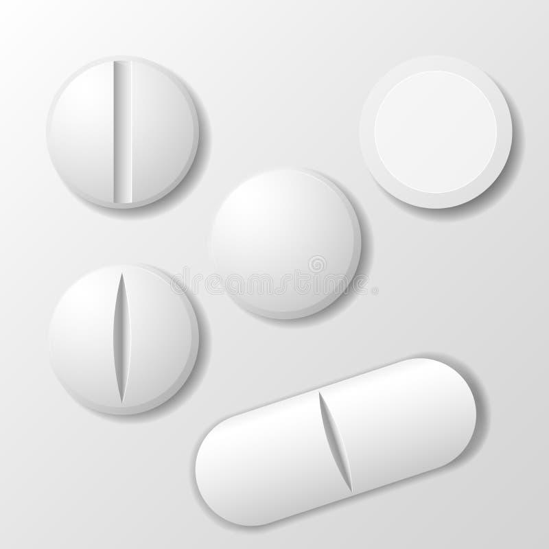 Reeks van geneeskundepil - tabletdrug vector illustratie