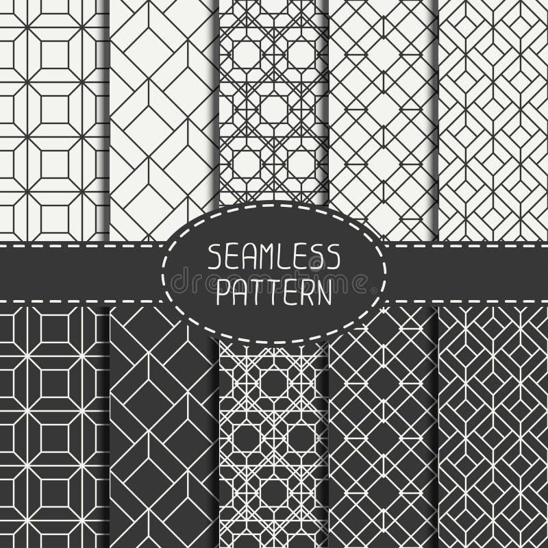 Reeks van geometrisch abstract naadloos kubuspatroon royalty-vrije illustratie