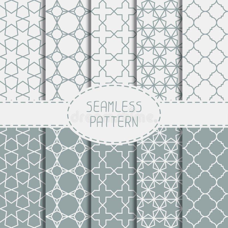 Reeks van geometrisch lijnrooster naadloos Arabisch stock illustratie