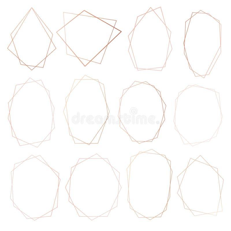 Reeks van geometrisch roze gouden kader, Decoratief element voor huwelijkskaart, Uitnodigingen en embleem stock illustratie