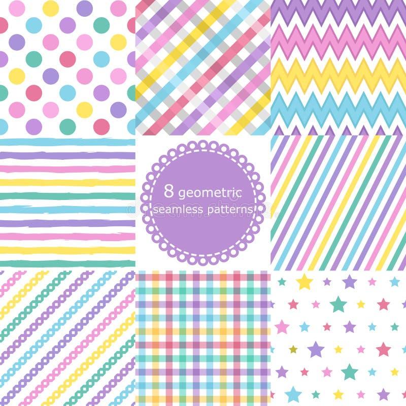 Reeks van 8 geometrische naadloze patronen vector illustratie