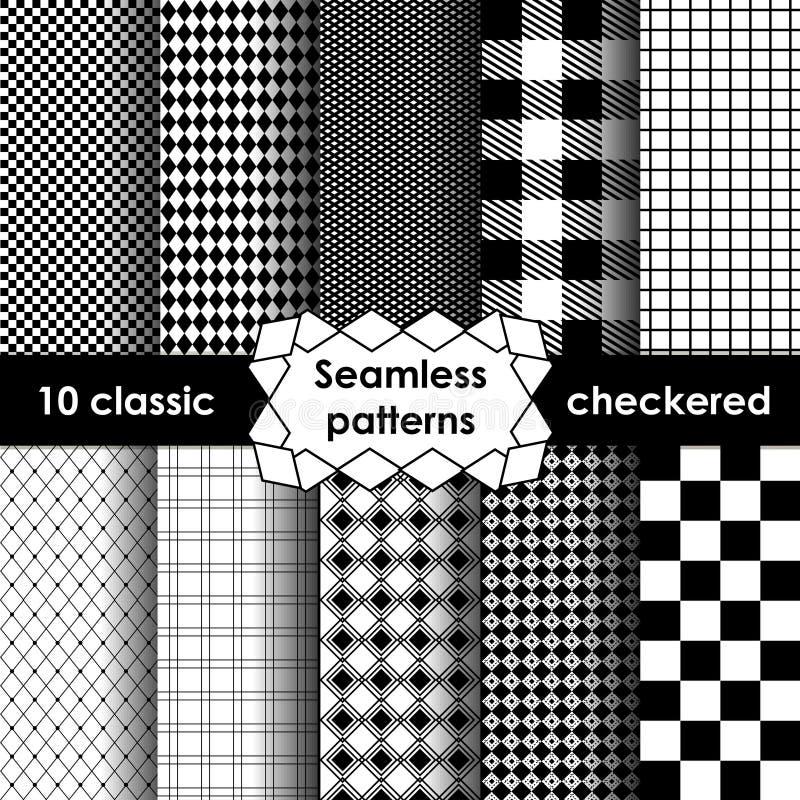 Reeks van geruit eenvoudig stoffen naadloos patroon in zwart-wit vector illustratie