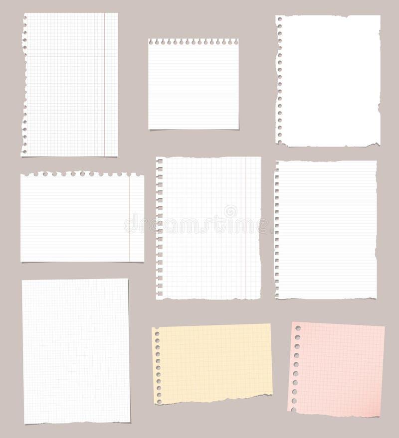 Reeks van gescheurde witte, bruine en roze beslist, het document van het wiskundenotitieboekje bladen royalty-vrije illustratie