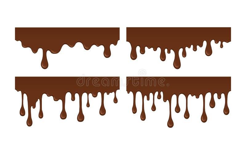 Reeks van gesmolten chocoladedruppel vector illustratie