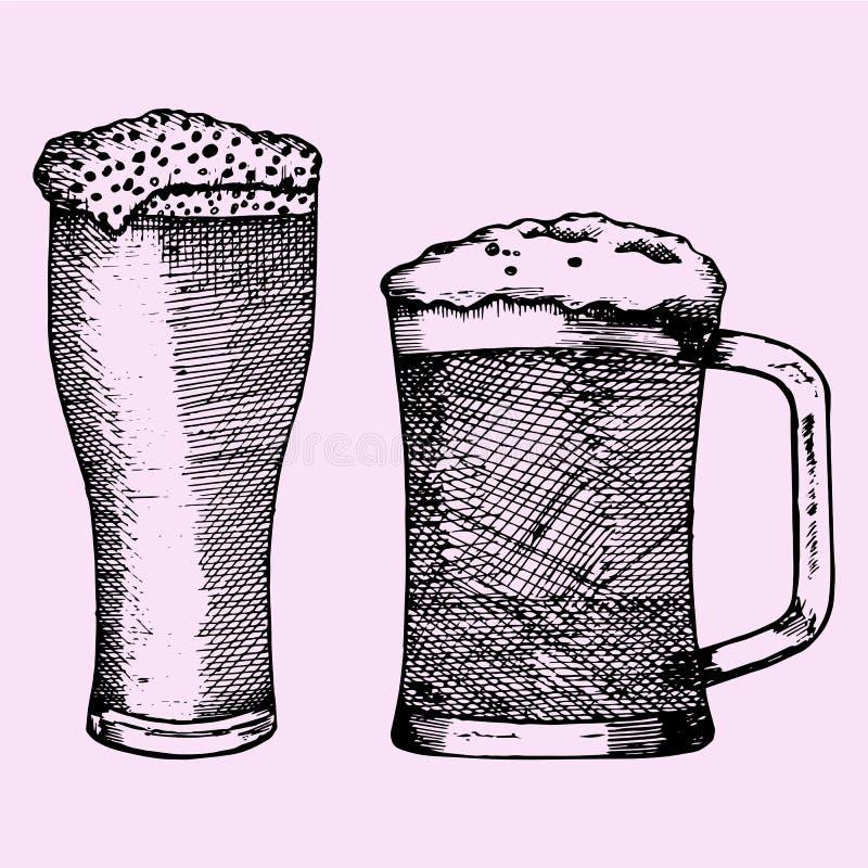 Reeks van glas van het bier met schuim royalty-vrije illustratie