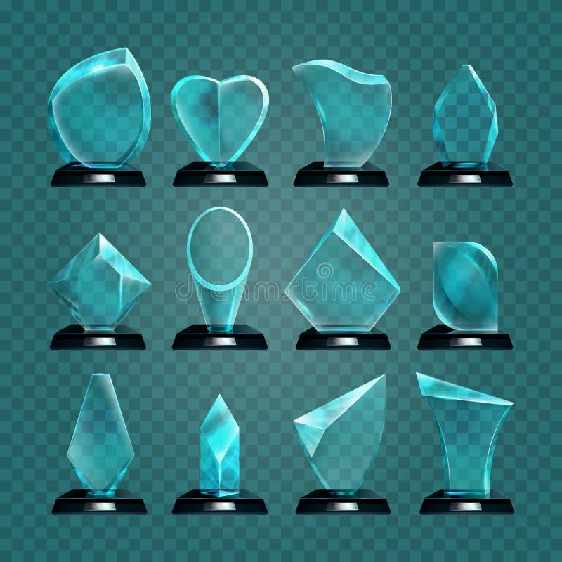 Reeks van glastrofee voor het winnen van toekenning vector illustratie