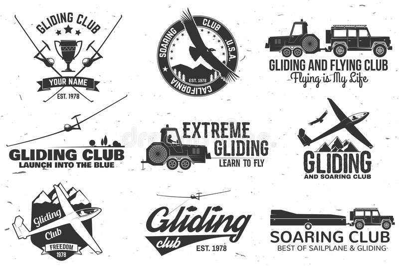Reeks van Glijdend club retro kenteken stock illustratie