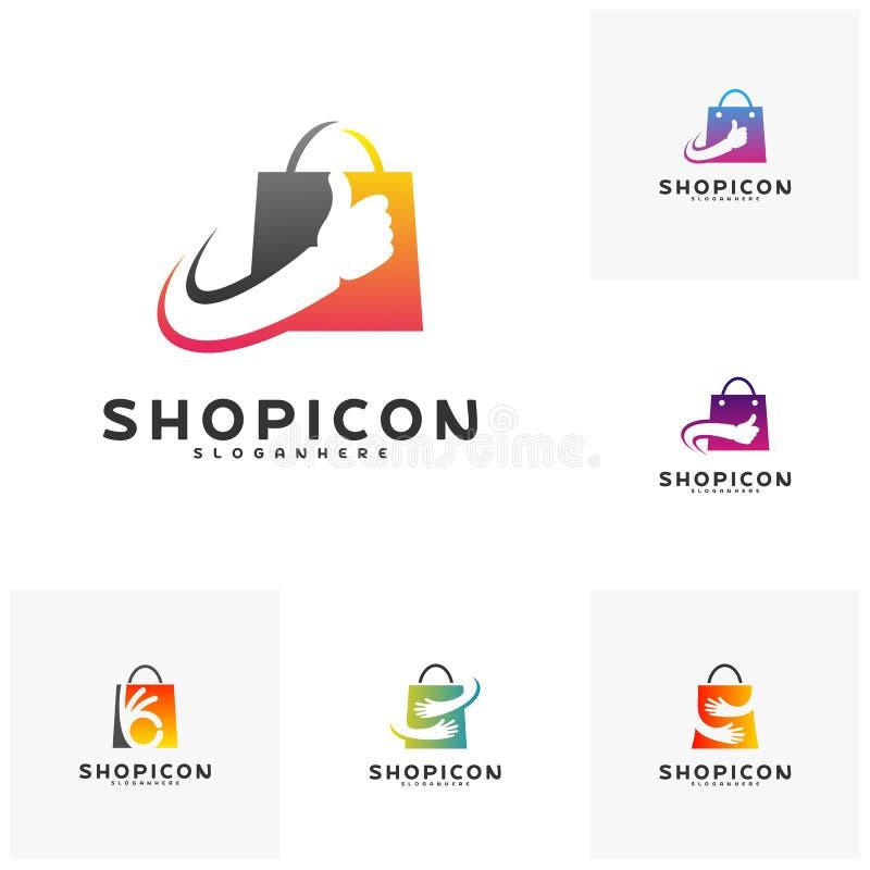 Reeks van Goede Winkel Logo Template Design Vector De grote vector van het Winkelembleem Het concept van het de Zakembleem van de stock illustratie