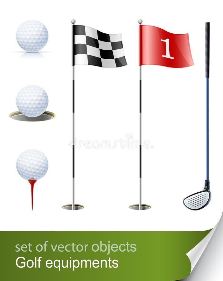 Reeks van golfapparatuur stock illustratie