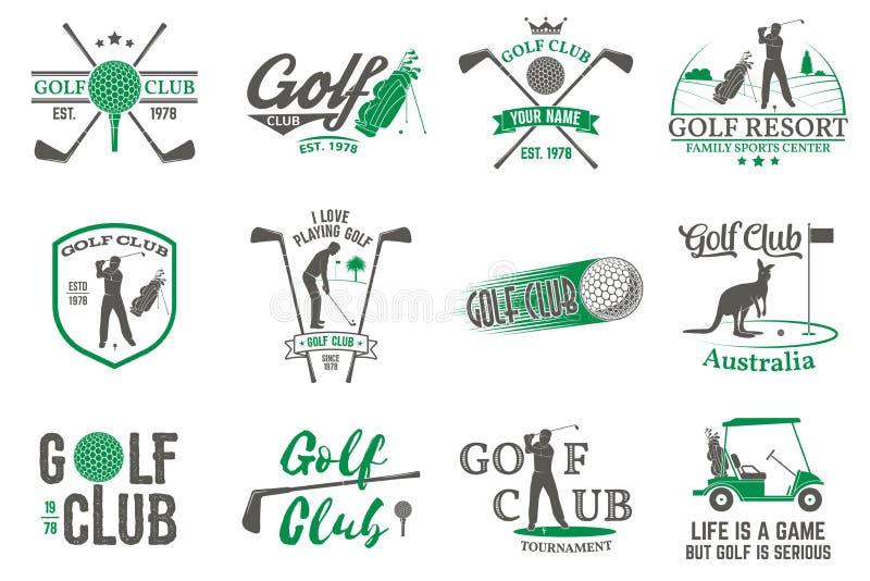 Reeks van Golfclubconcept met golfspelersilhouet vector illustratie
