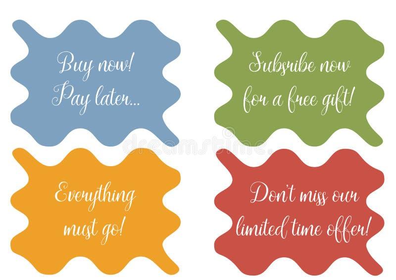 Reeks van 4 golvende banner, stickers, minibackground met verkoopteksten royalty-vrije illustratie