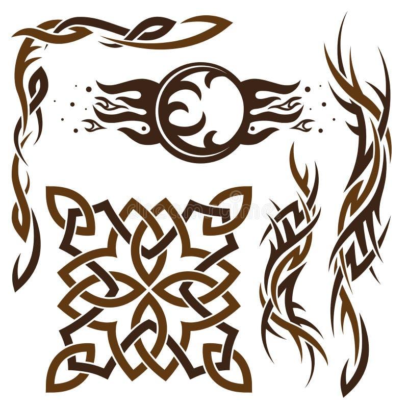 Reeks van Gotisch en Keltisch ornament stock illustratie