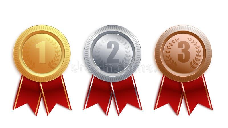 Reeks van goud, zilver, bronskentekens met rood lint vector illustratie