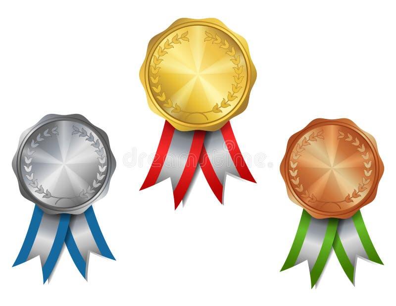 Reeks van goud, zilver, de medailles van de bronstoekenning vector illustratie