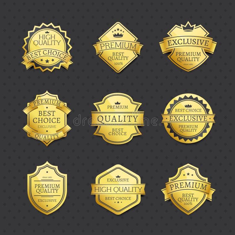 Reeks van Gouden de Premiekwaliteit van de Etiketten Beste Keus royalty-vrije illustratie