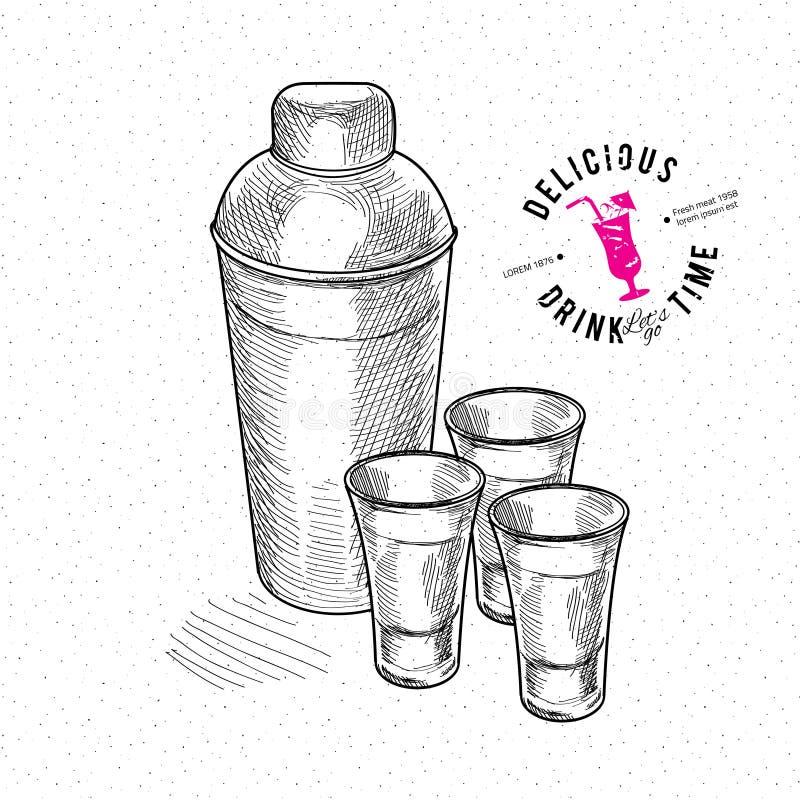 Reeks van gouden die tequila met kalkvruchten wordt geschoten stock illustratie
