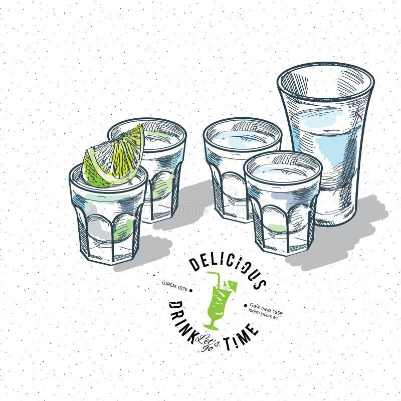 Reeks van gouden die tequila met kalkvruchten wordt geschoten op witte achtergrond vector illustratie