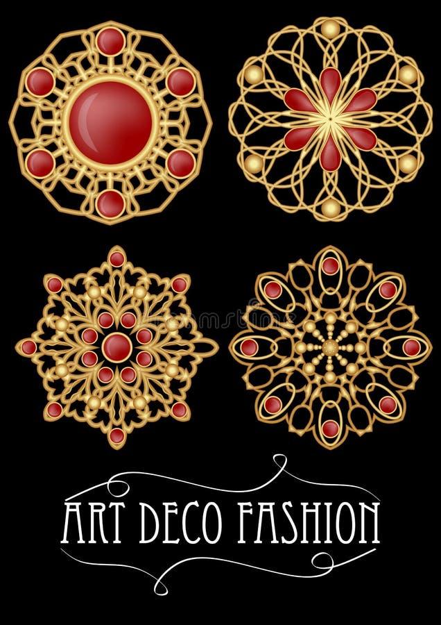 Reeks van gouden filigraanbroche met rode gemmengranaten in art decostijl Rond symmetrisch retro juweel van gouden metaal royalty-vrije illustratie