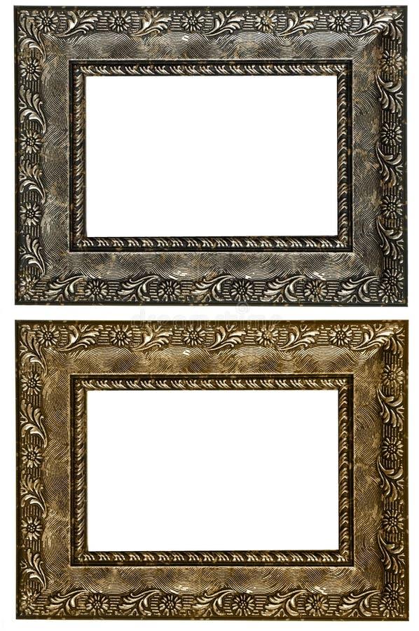 Reeks van 2 gouden kaders Geïsoleerdj op witte achtergrond royalty-vrije stock fotografie
