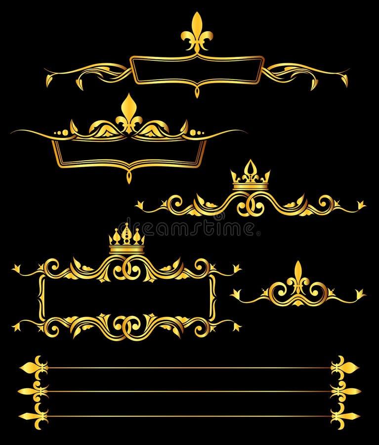 Reeks van gouden koninklijke kaders en grenzen zwarte achtergrond vector illustratie