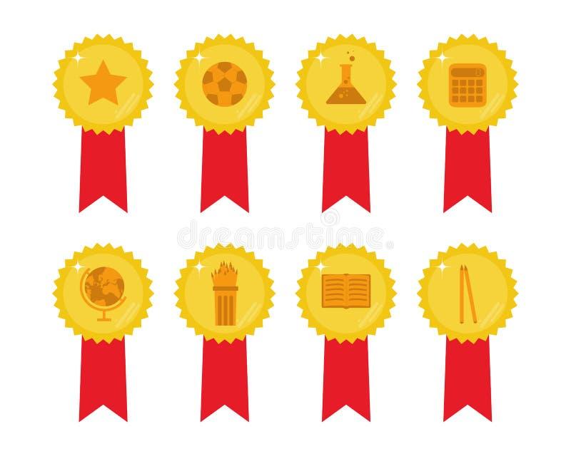 Reeks van 8 gouden medailles met rood lint met onderwijspictogrammeninsi stock illustratie