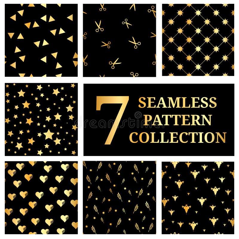 Reeks van 7 gouden naadloze patrooninzameling Gouden Ster, Driehoeken, Gouden Harten, Gouden schaar, Halloween, Gouden Wijnoogst vector illustratie