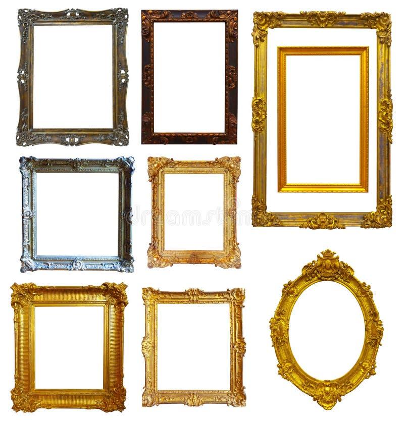 Reeks van gouden omlijsting stock foto's