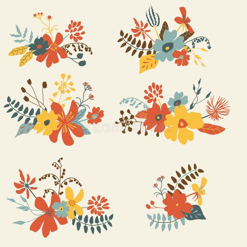 Reeks van grafisch bloemenontwerp zes stock illustratie