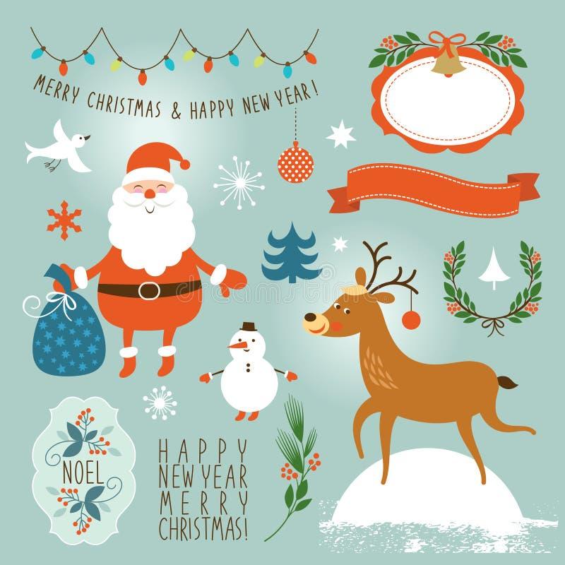 Reeks van grafisch elementen, Kerstmis en Nieuwjaar stock illustratie