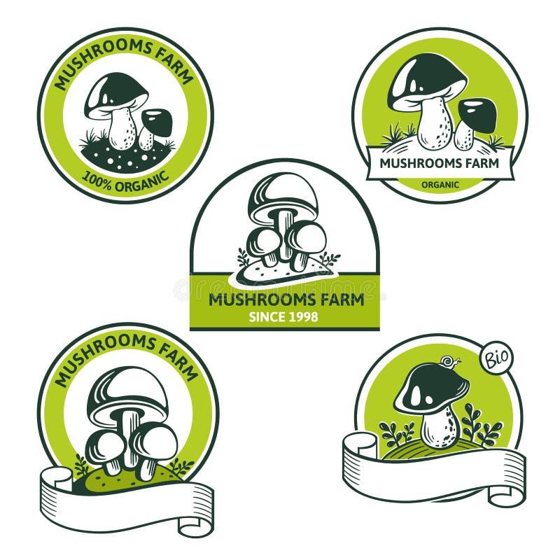 Reeks van Grafisch Embleem voor ediblespaddestoel van natuurvoeding vector illustratie